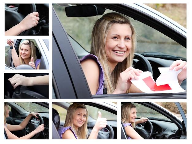 Collage de un joven piloto en su coche