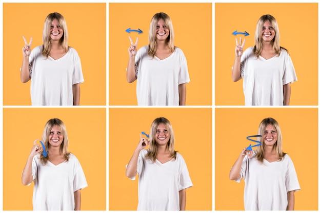 Collage de mujer joven gesticular signo sordo