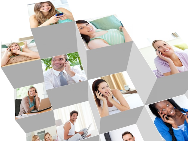 Collage de personas hablando por teléfono