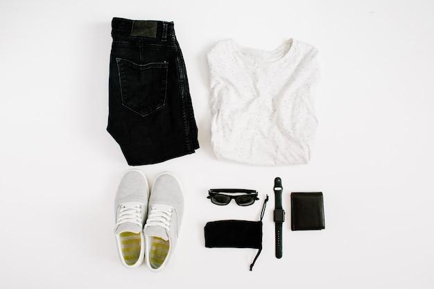 Collage de ropa y accesorios de moda masculina en blanco