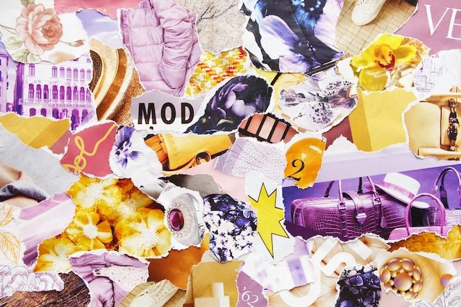 Collage de tablero de estado de ánimo de arte de atmósfera creativa contemporánea hecha a mano
