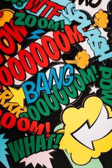 Collage de texto de expresión en diferentes colores.