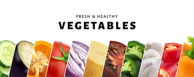 Collage de vegetales aislados con espacio de copia, primer plano de verduras frescas y saludables