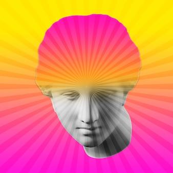 Collage con yeso escultura antigua de rostro humano en estilo pop art. imagen de concepto creativo con cabeza de estatua antigua en colores amarillo rosa. cultura zine. cartel de estilo de arte contemporáneo. busto antiguo