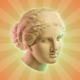 Collage con yeso escultura antigua de rostro humano en estilo pop art. imagen de concepto creativo con cabeza de estatua antigua en colores pastel. cultura zine. cartel de estilo de arte contemporáneo. busto de apolo.