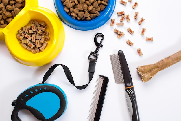 Collar tazón azul con correa de alimentación delicadeza peines y cepillos para perros aislado sobre fondo blanco.
