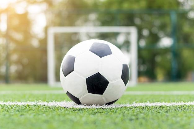 Coloca la pelota en el centro del campo de fútbol.