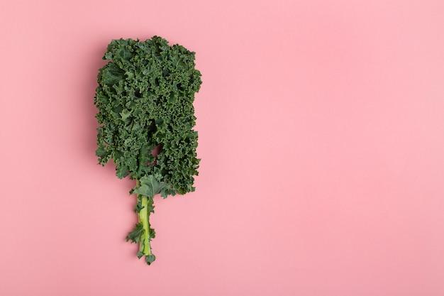 Colocación plana fresca col verde sobre fondo rosa