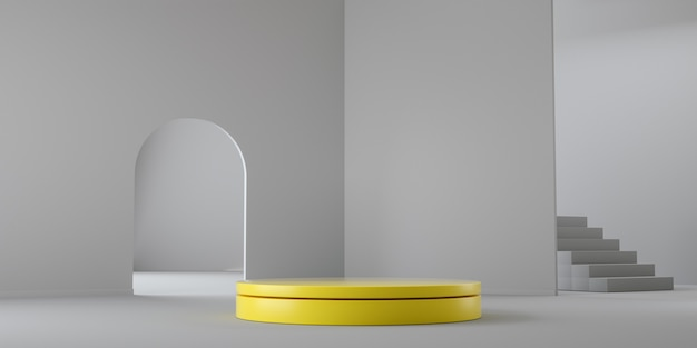 Color del año 2021. render 3d geométrico vacío amarillo y gris abstracto Foto Premium