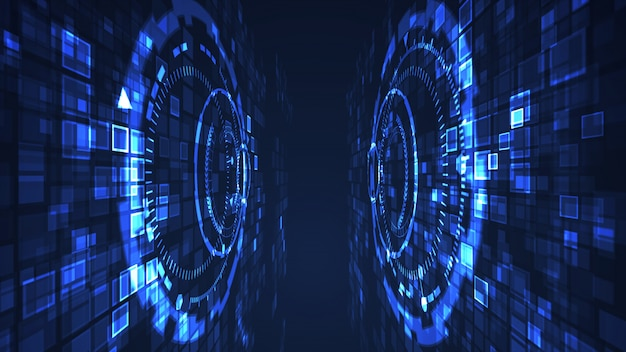 Color gráfico cibernético del azul del ejemplo de la tecnología digital abstracta del círculo. concepto futurista de internet.