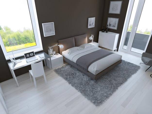 Color marrón en el interior del dormitorio.