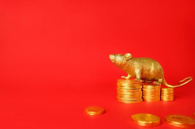 Color oro de la rata en monedas de oro con un fondo rojo, rata zodiaco de chino.