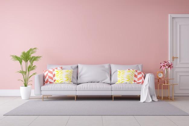 Color pastel minimalista y diseño interior moderno de la habitación.