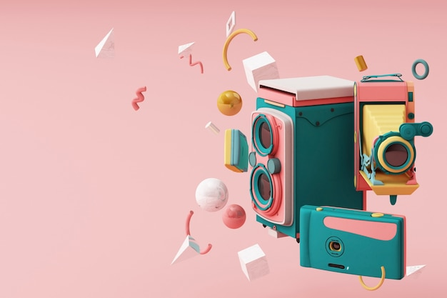 Colorida cámara vintage rodeada de memphis pattern3d render