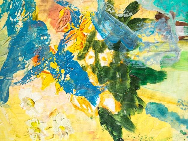 Colorida composición con pinturas acrílicas.