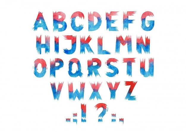 Colorido acuarela aquarelle tipo de letra manuscrita mano dibujar letras del alfabeto abc