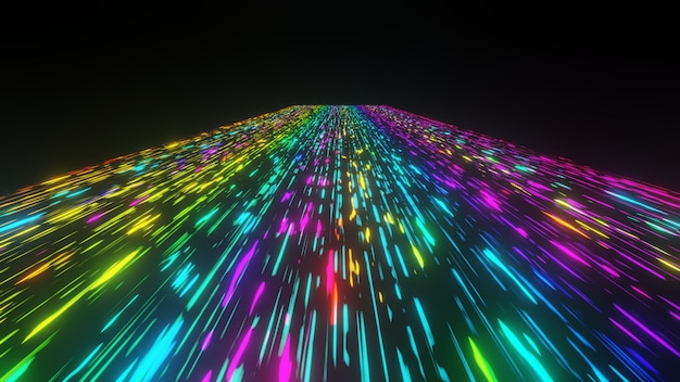Colorido flujo de luz de neón futurista comunicación de datos volando en animación tecnológica digital 3d