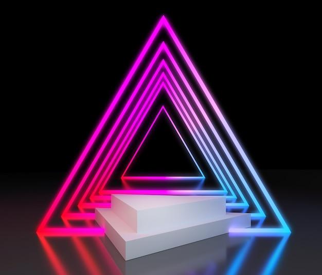 Colorido podio con luz de neón para la presentación del producto