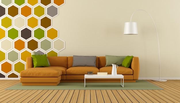 Colorido salón moderno render 3d