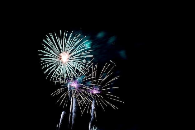 Coloridos fuegos artificiales en el cielo nocturno