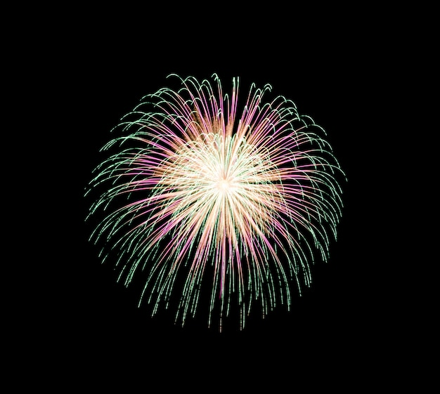 Coloridos fuegos artificiales en la noche de celebración