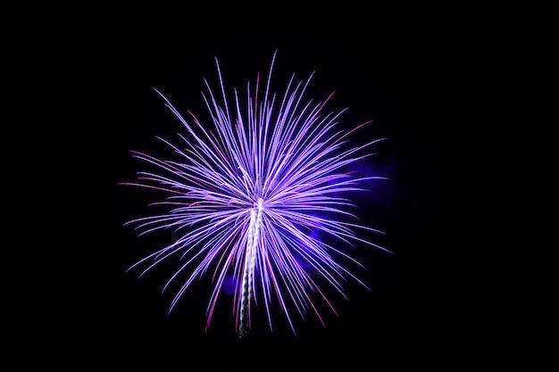 Coloridos fuegos artificiales sobre el cielo oscuro