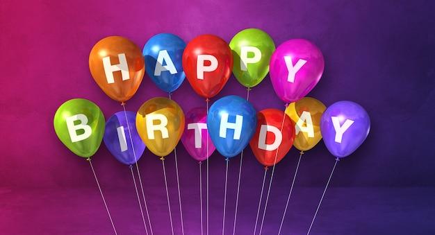 Coloridos globos de aire feliz cumpleaños en una escena de fondo púrpura. banner horizontal. render de ilustración 3d