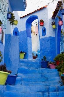 Coloridos jarrones con plantas de pie sobre los pasos azules en la calle azul en algún lugar de marruecos