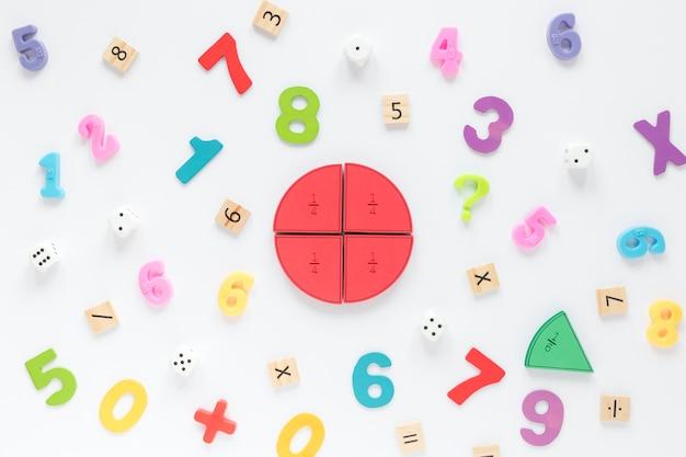 Coloridos números matemáticos y fracciones