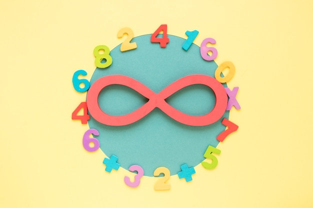 Coloridos números matemáticos que rodean el símbolo infinito