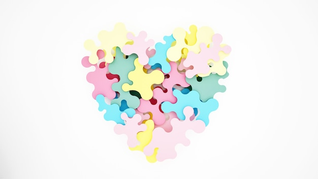 Coloridos rompecabezas se combinan para formar corazones.