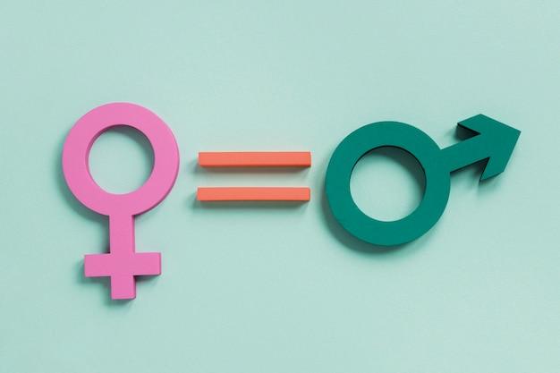 Coloridos símbolos de género para la igualdad de derechos