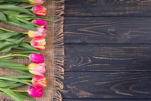 Coloridos tulipanes en fila en estera de cuerda