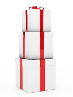 Columna con cajas blancas de diferentes tamaños