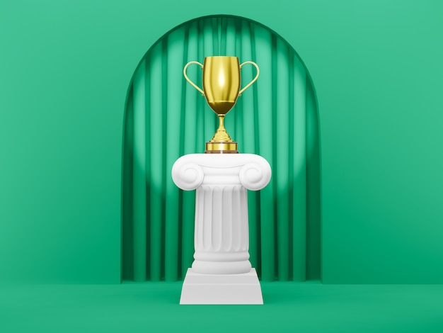 Columna de podio abstracto con un trofeo dorado en el arco de fondo verde con cortina verde