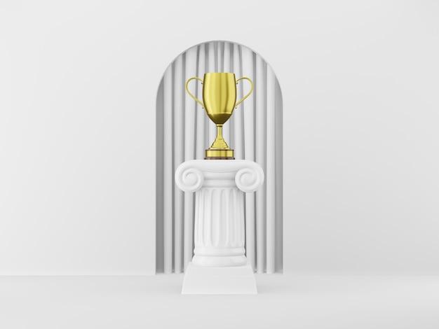 Columna de podio abstracto con un trofeo dorado sobre el fondo blanco con arco