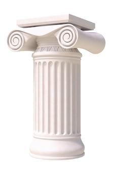 Columna romana antigua aislada sobre fondo blanco, vista lateral