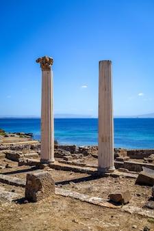 Columnas en el sitio arqueológico de tharros, cerdeña