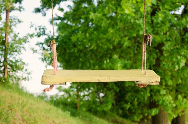Columpio de cuerda de madera iluminado por el sol en el parque