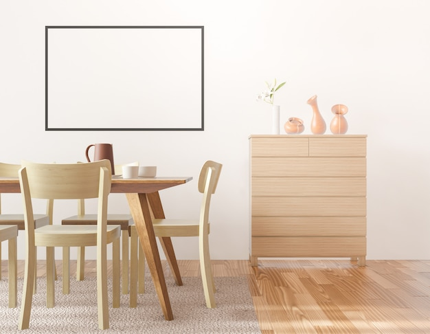 Comedor con marco de fotos en blanco, gabinete de madera, representación 3d