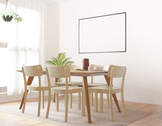Comedor con marco de fotos en blanco, representación 3d