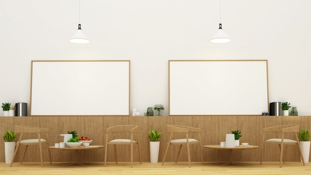 Comedor y marco en restaurante o cafetería - representación 3d