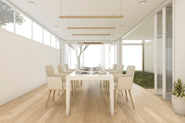Comedor minimalista con mesa y silla.   Foto Premium