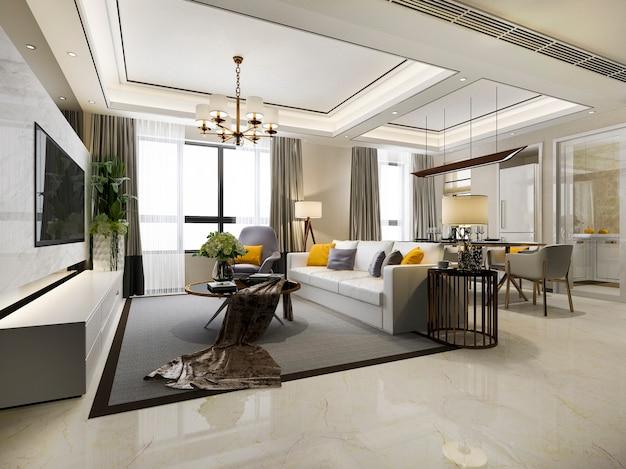 Comedor moderno 3d y sala de estar con decoración de lujo.