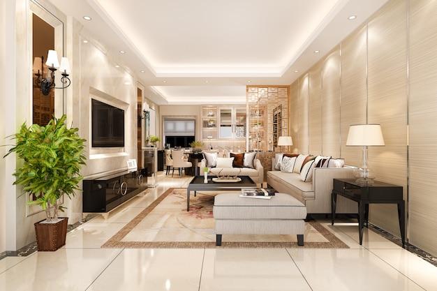 Comedor moderno y sala de estar con decoración de lujo