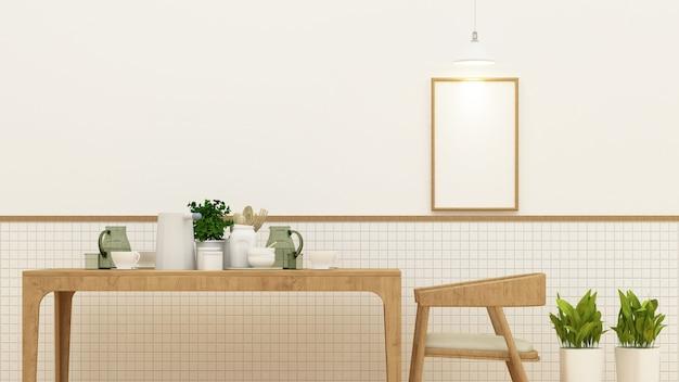 Comedor o cafetería y marco para obras de arte - representación 3d