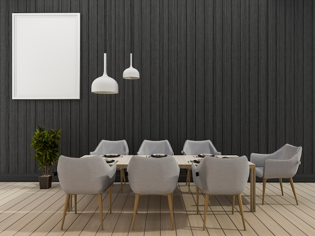 Comedor de pared negro de renderizado 3d con juego de comedor mínimo
