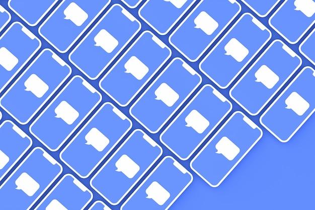 Comentar el fondo de las redes sociales en la pantalla del teléfono inteligente o render 3d móvil