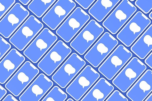 Comentar las redes sociales en la pantalla del teléfono inteligente o render 3d móvil