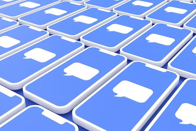 Comentario fondo de redes sociales en la pantalla del teléfono inteligente o móvil 3d render